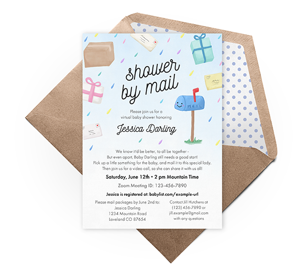 Shower by mail virtual baby shower invitation