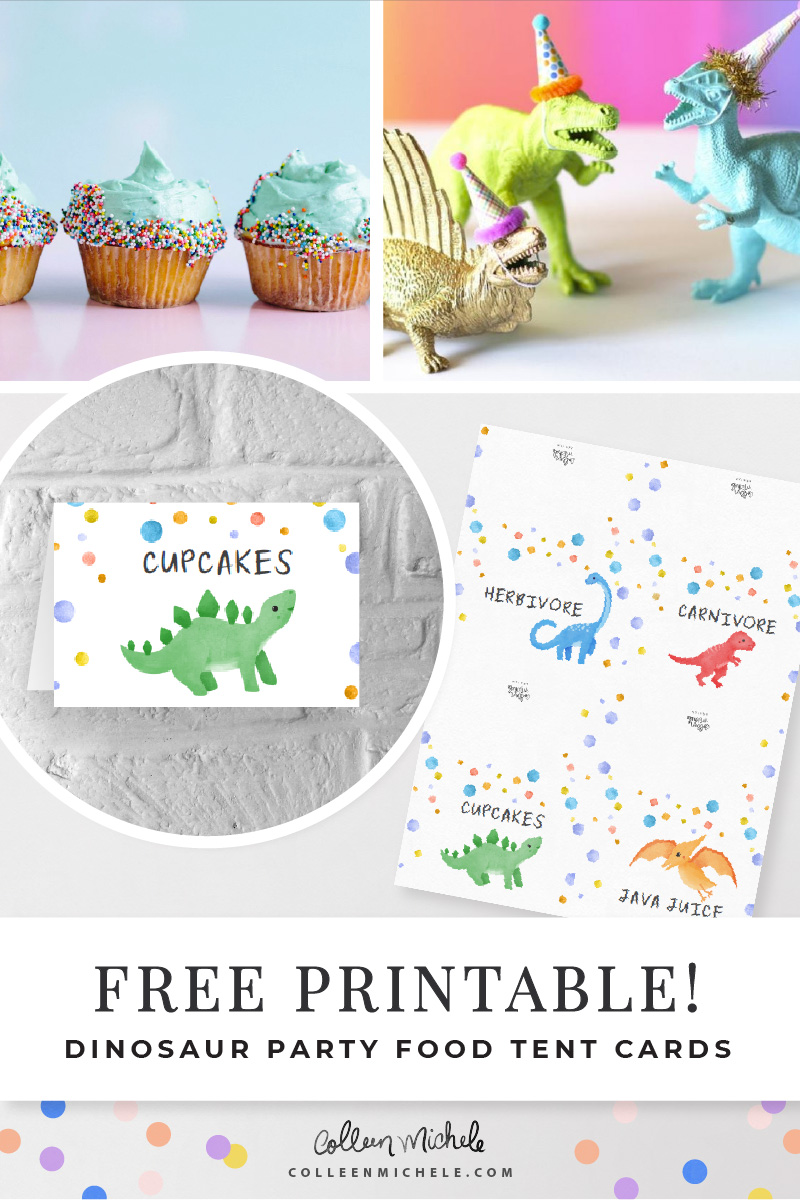 Free Dinosaur Printables 4 Food Tents Colleen Michele