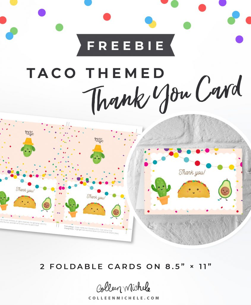 Free taco themed thank you card
