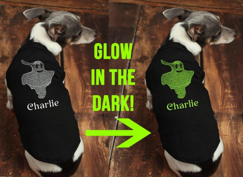 glow in the dark dog shirt