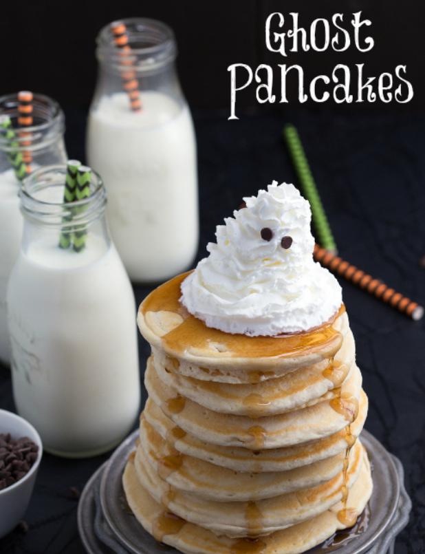 ghost pancakes for Halloween birthday