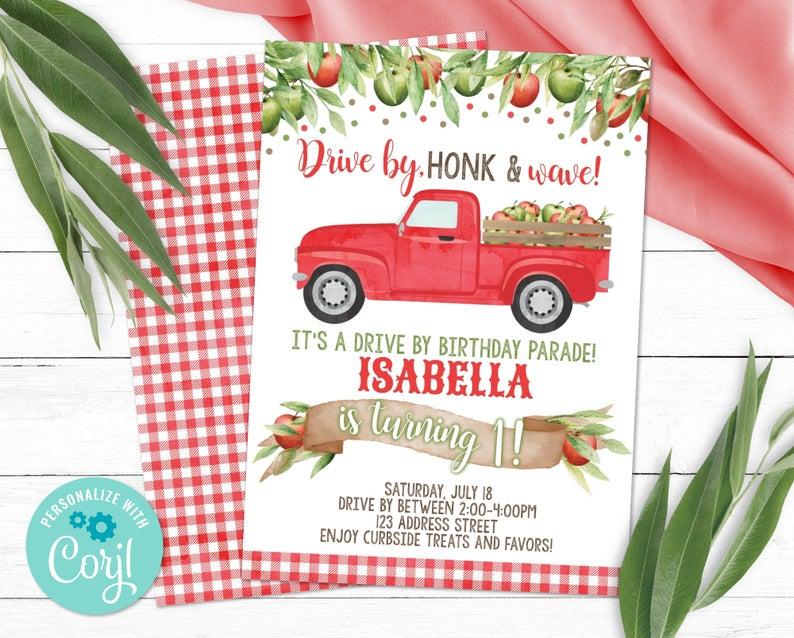 apple drive by birthday invitation