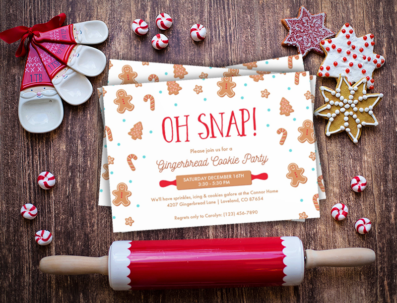 Oh Snap! cookie party invitation