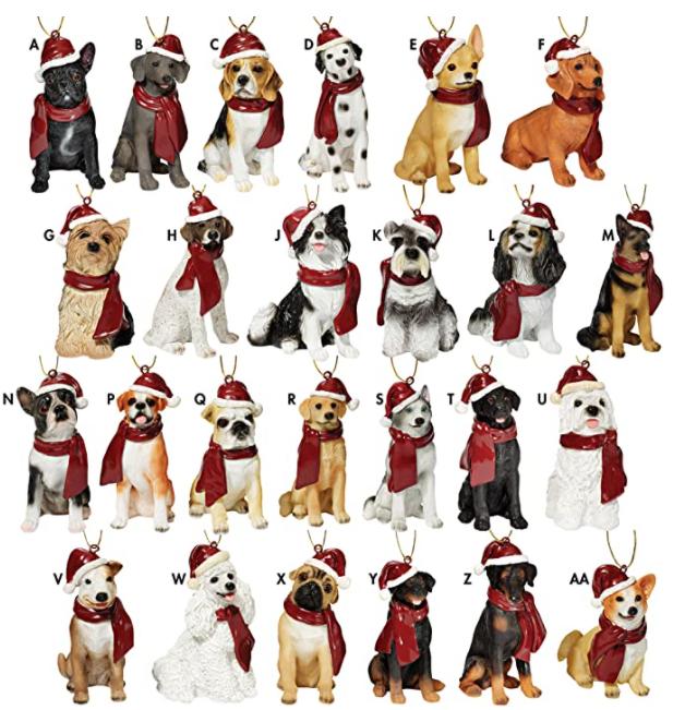 Santa hat dog ornaments