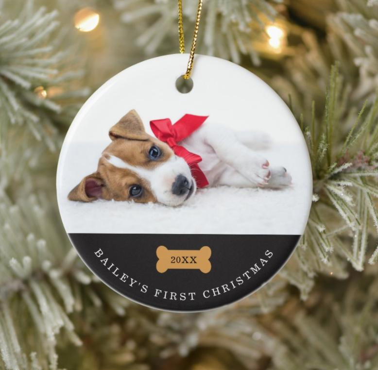 Christmas dog photo on ornament