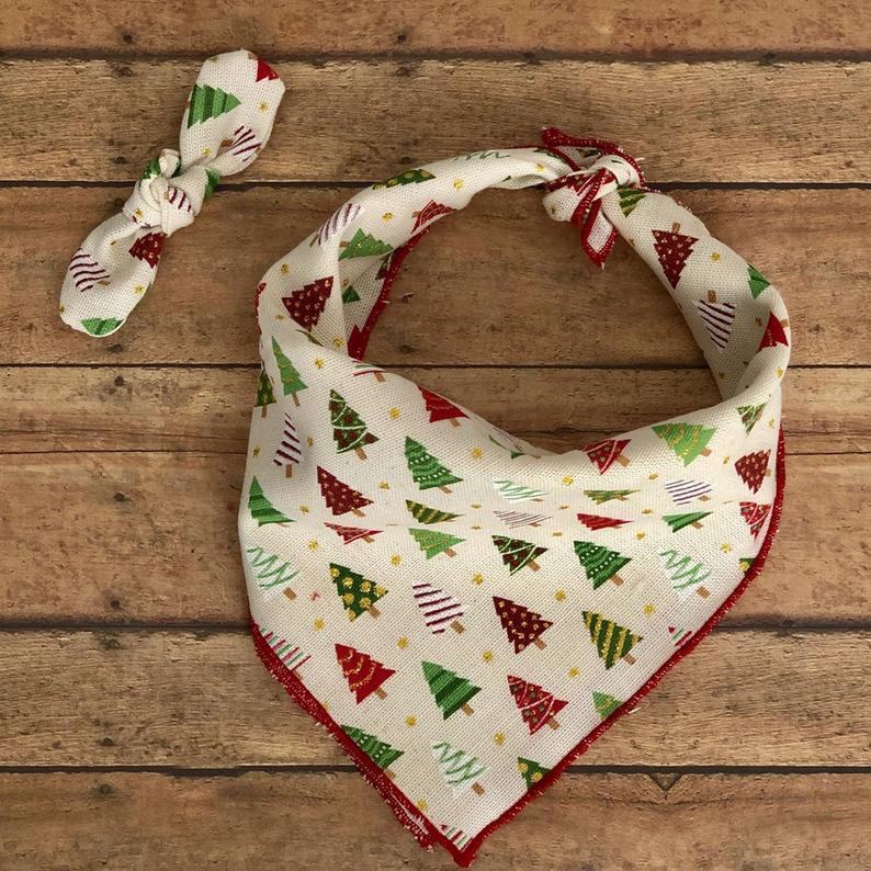 holiday dog bandana with bow tie
