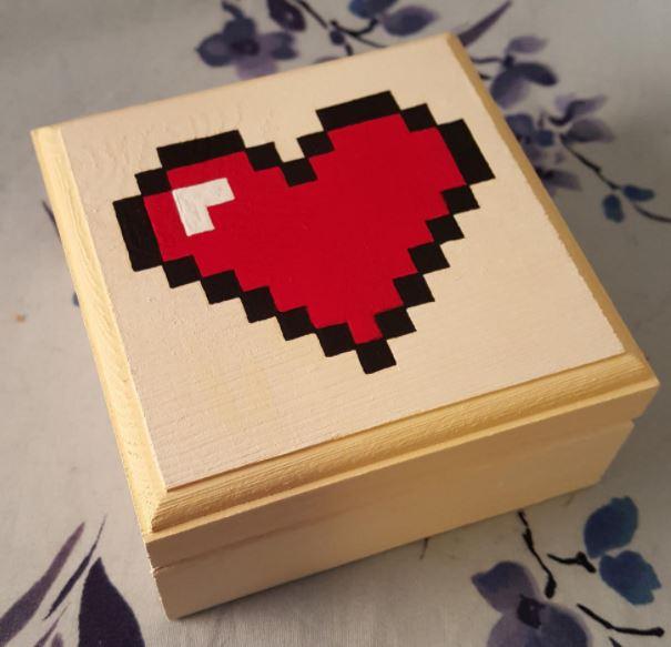 8-bit heart ring box for nerd weddings
