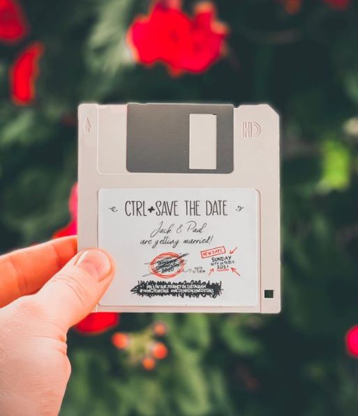 floppy disk geeky save the date