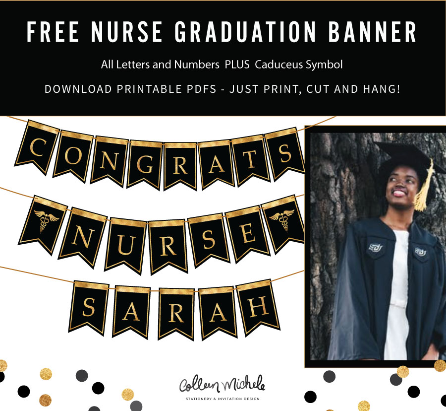 free graduation banner flags