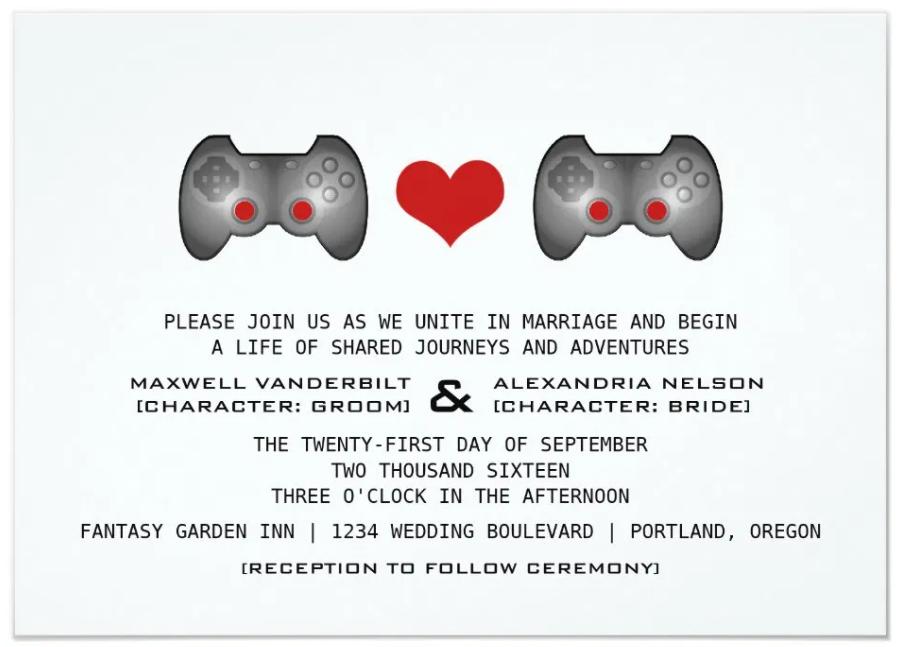 video game wedding invitation