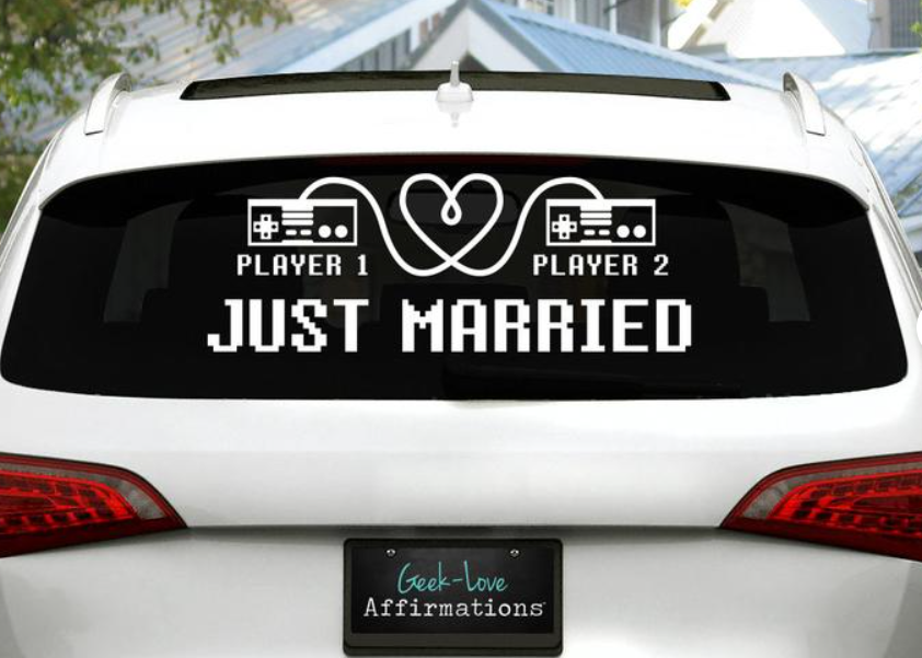 Just married car decal for gamers