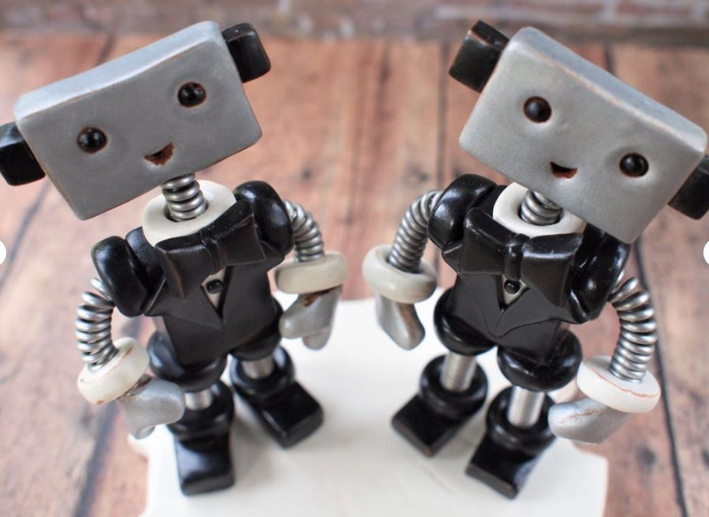 Cute robot wedding cake toppers