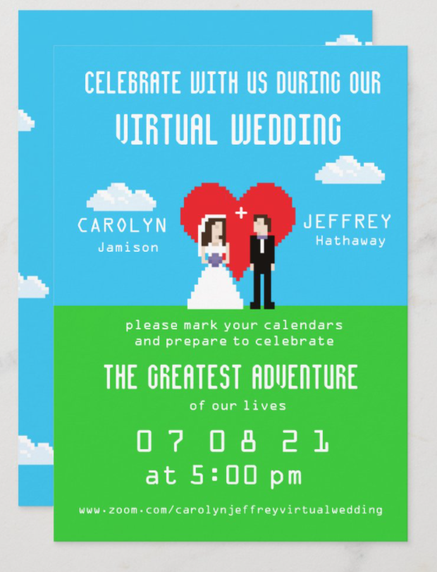 8-bit wedding invitations