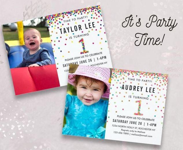 1st Birthday party invitation with rainbow sprinkles