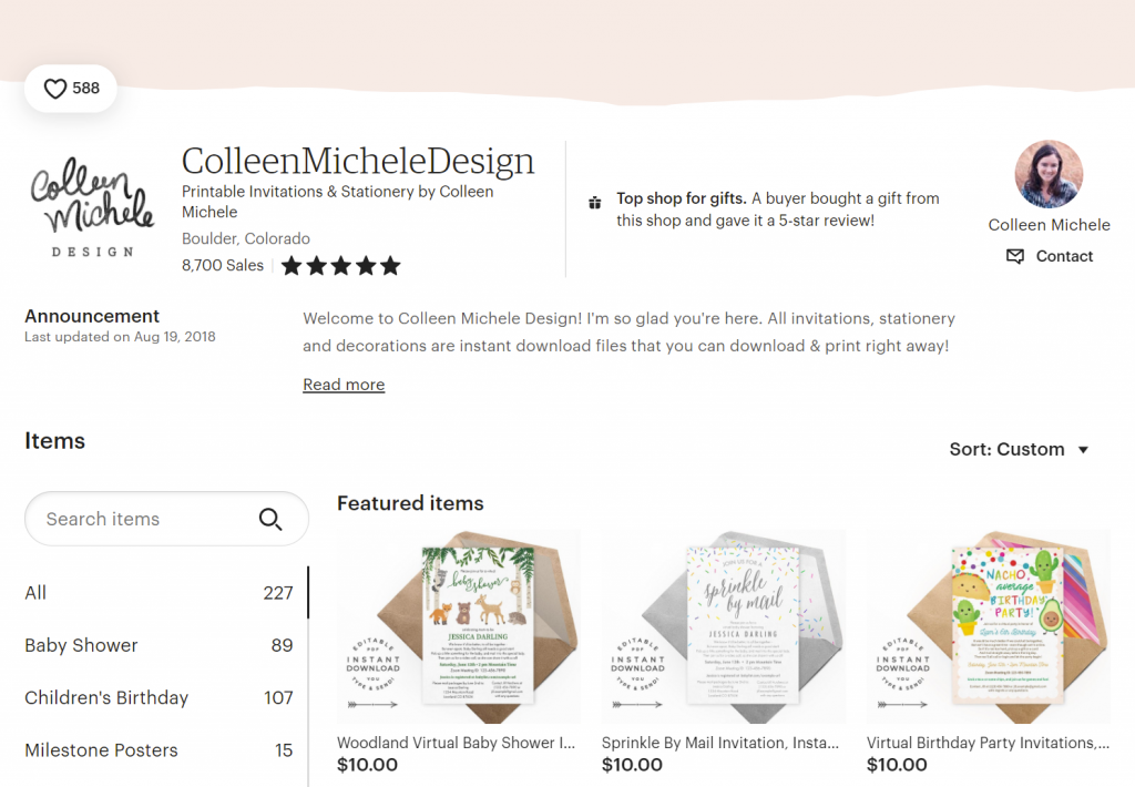 Screenshot of Colleen Michele Design on Etsy - with instant download, digital invitation files and over 8,000 sales