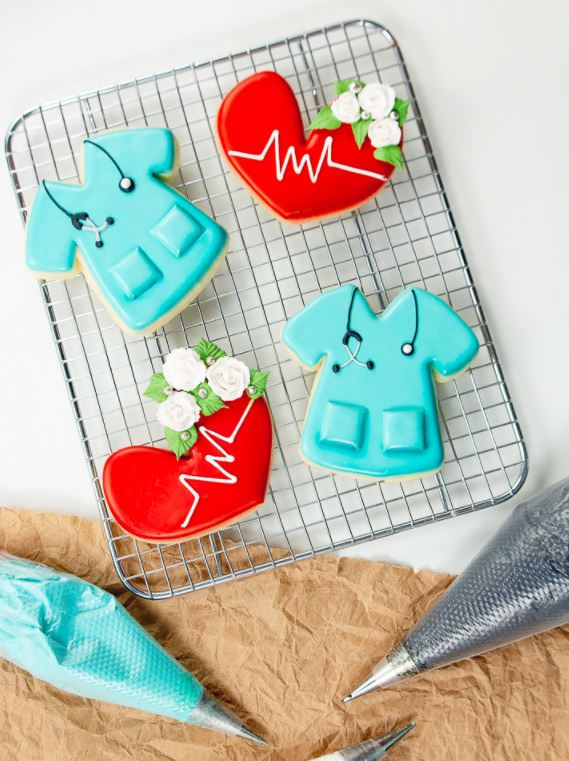 nurse themed lab coat cookies