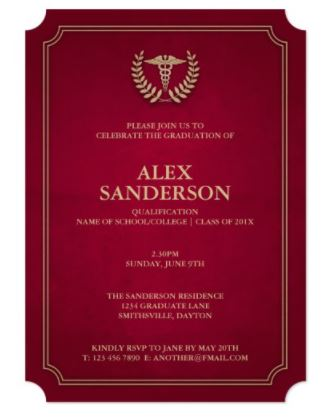 elegant and stylish nurse graduation invitation