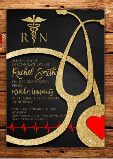 gold and red nurse graduation invitation