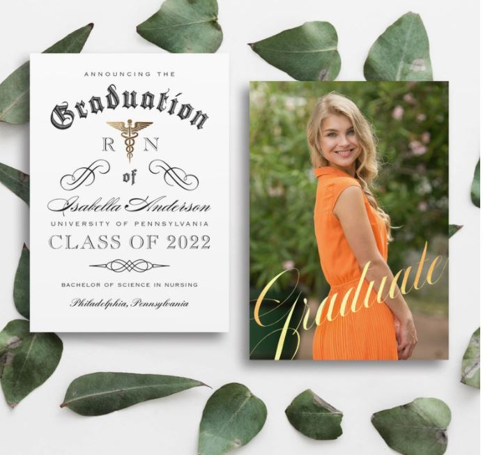 photo nurse graduation invitation