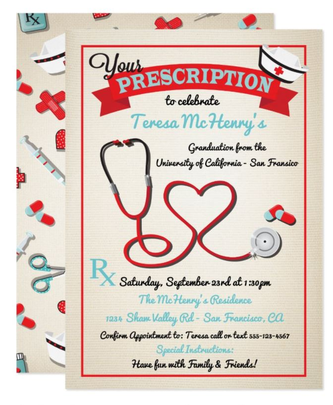 prescription for fun nurse graduation invitation