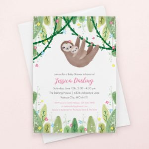 Blue Sloth Themed Birthday invitation pictured with white envelope