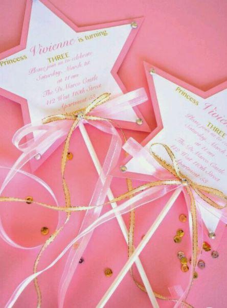 princess party fairy wand invitations