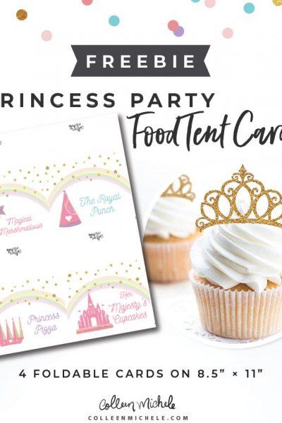 free princess food tent cards