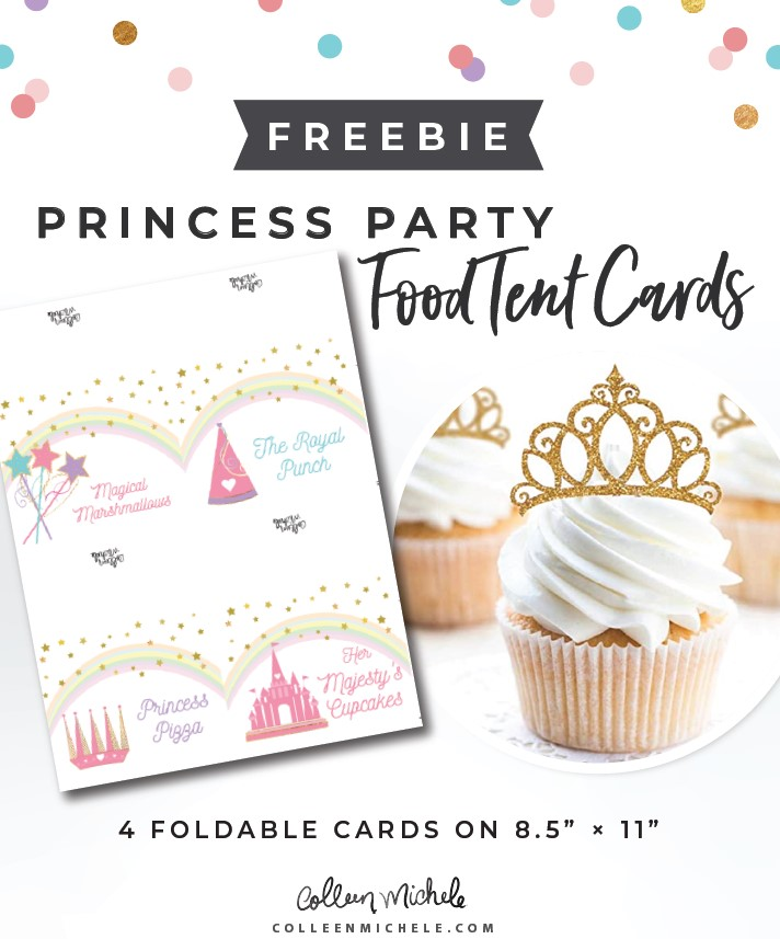 princess party food tent cards