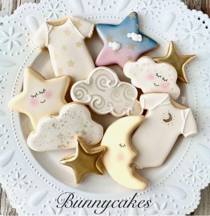 sweet twinkle star baby shower cookies