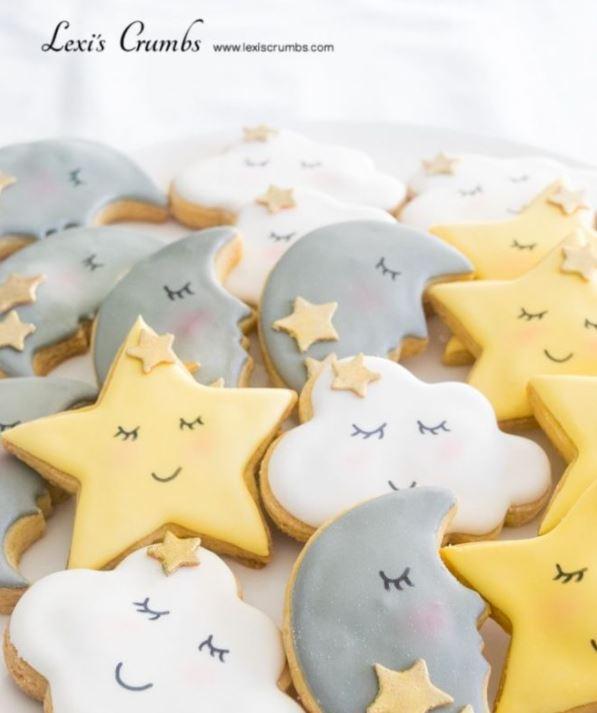 twinkle star baby shower cookies