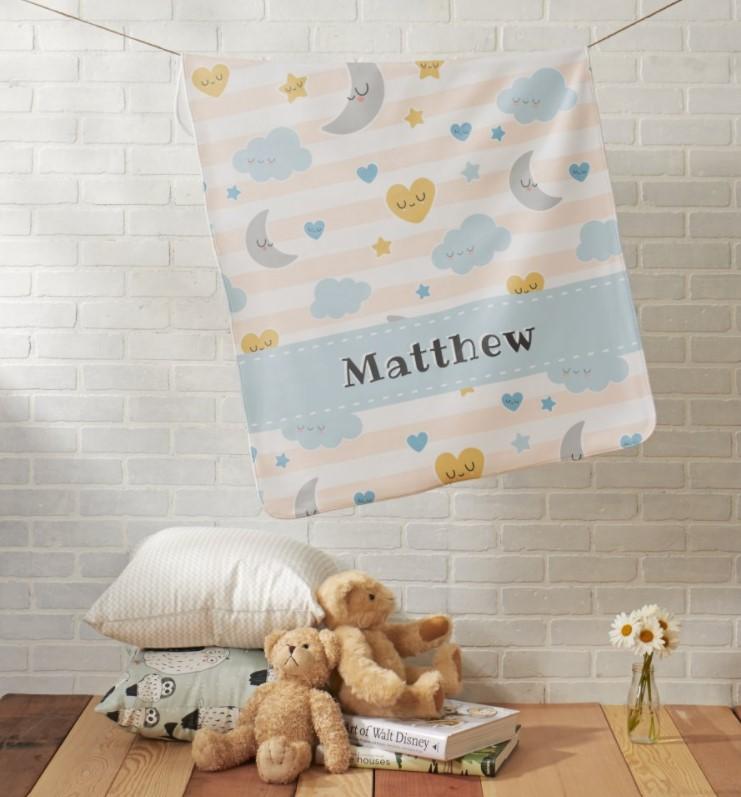 twinkle star personalized blanket