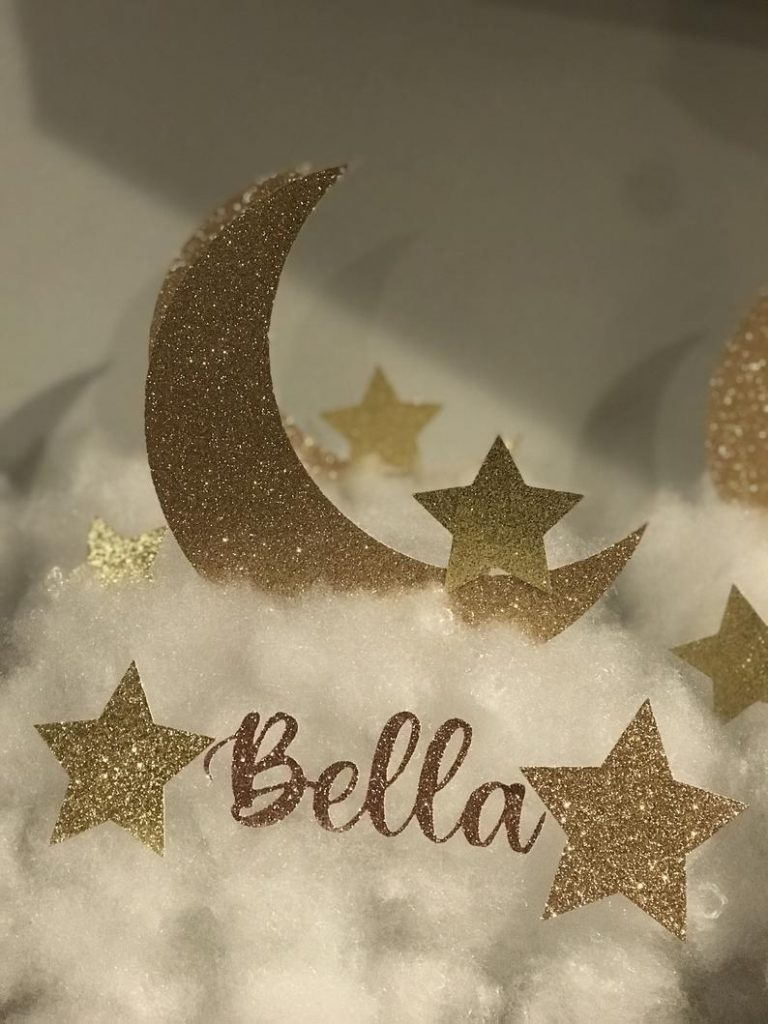 twinkly moon and stars decor