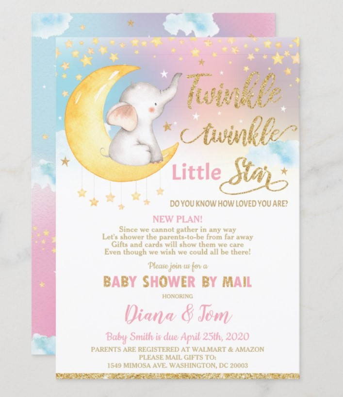 elephant on the moon baby shower invitation