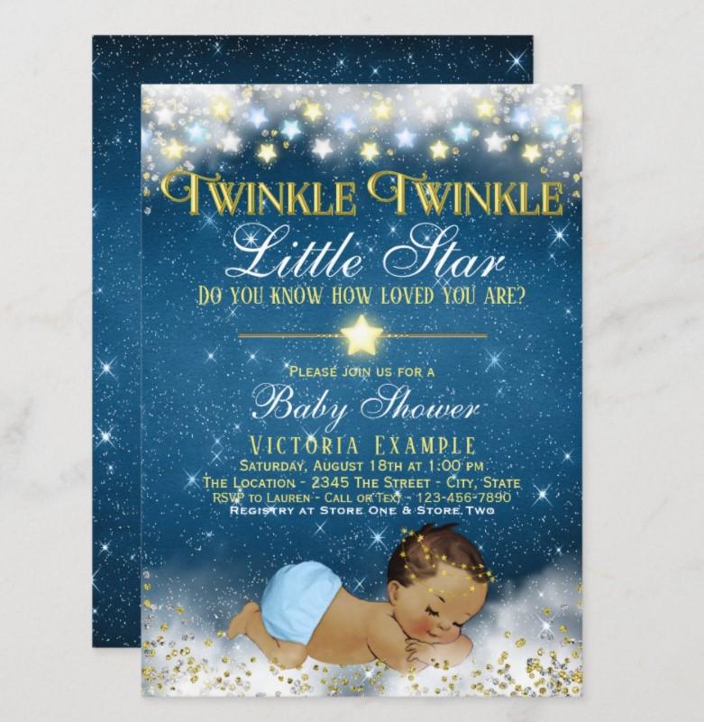 cute boy star baby shower invitation