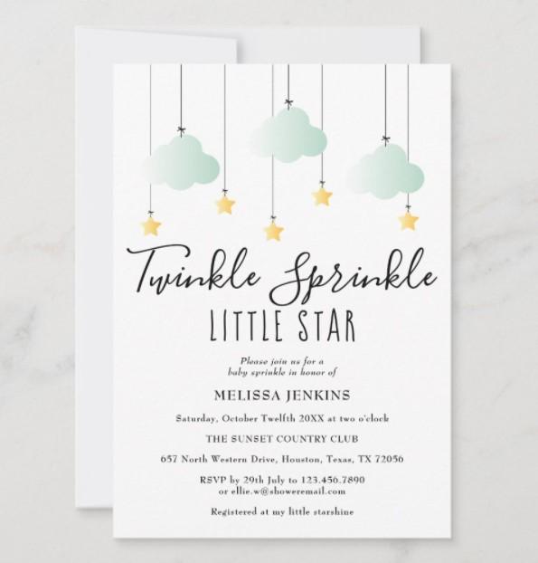twinkle little star baby shower invite