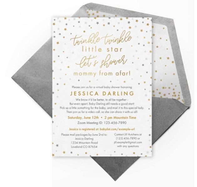 twinkle little star  virtual baby shower invitation