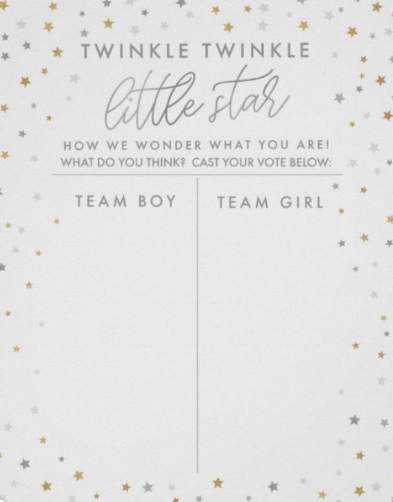 Gender Guessing Game for Baby Shower