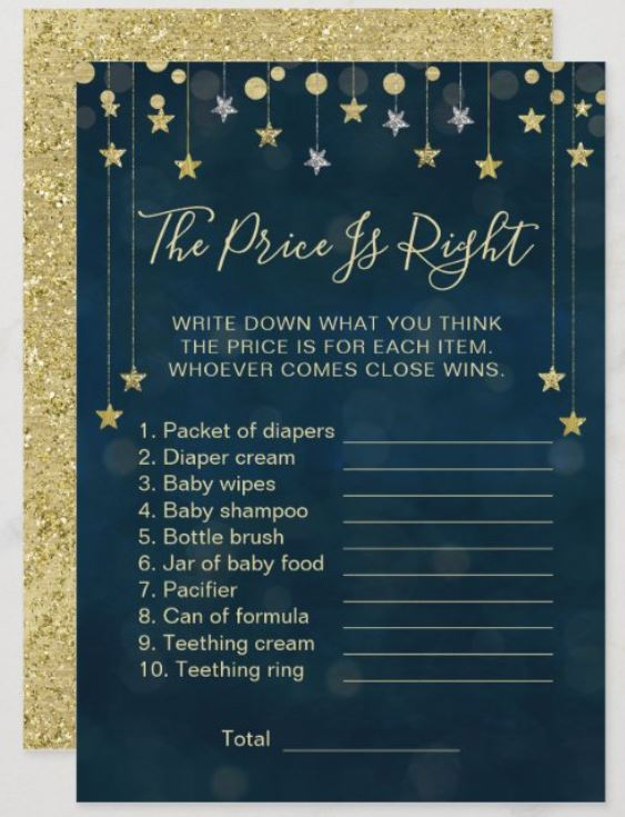 Price is Right Baby Shower Game