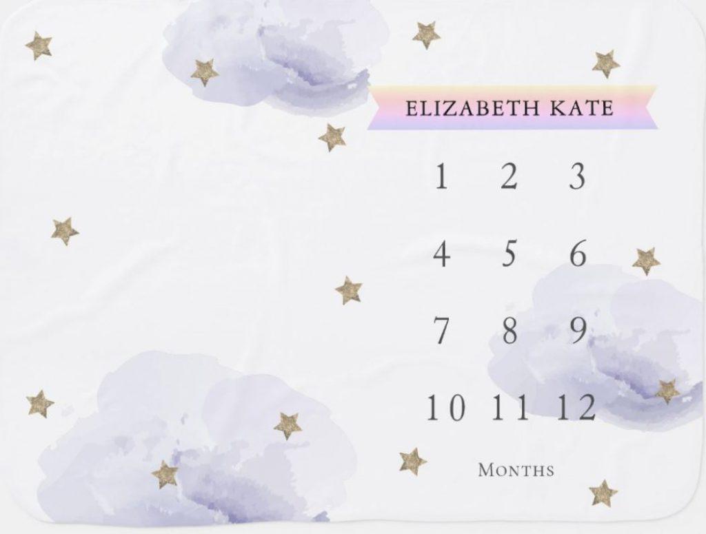 twinkle star theme milestone blanket