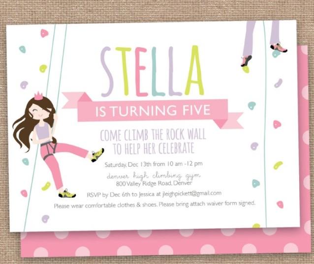 girls birthday party rock climb invitation