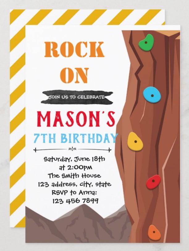rock climbing party invitation