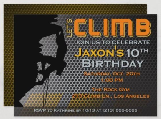 let's climb party invitation