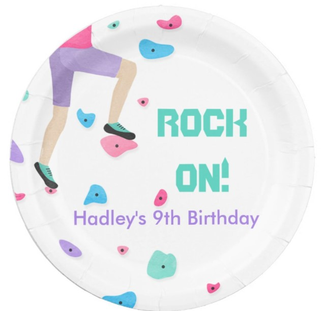 rock on birthday party plates for rock climbing parties