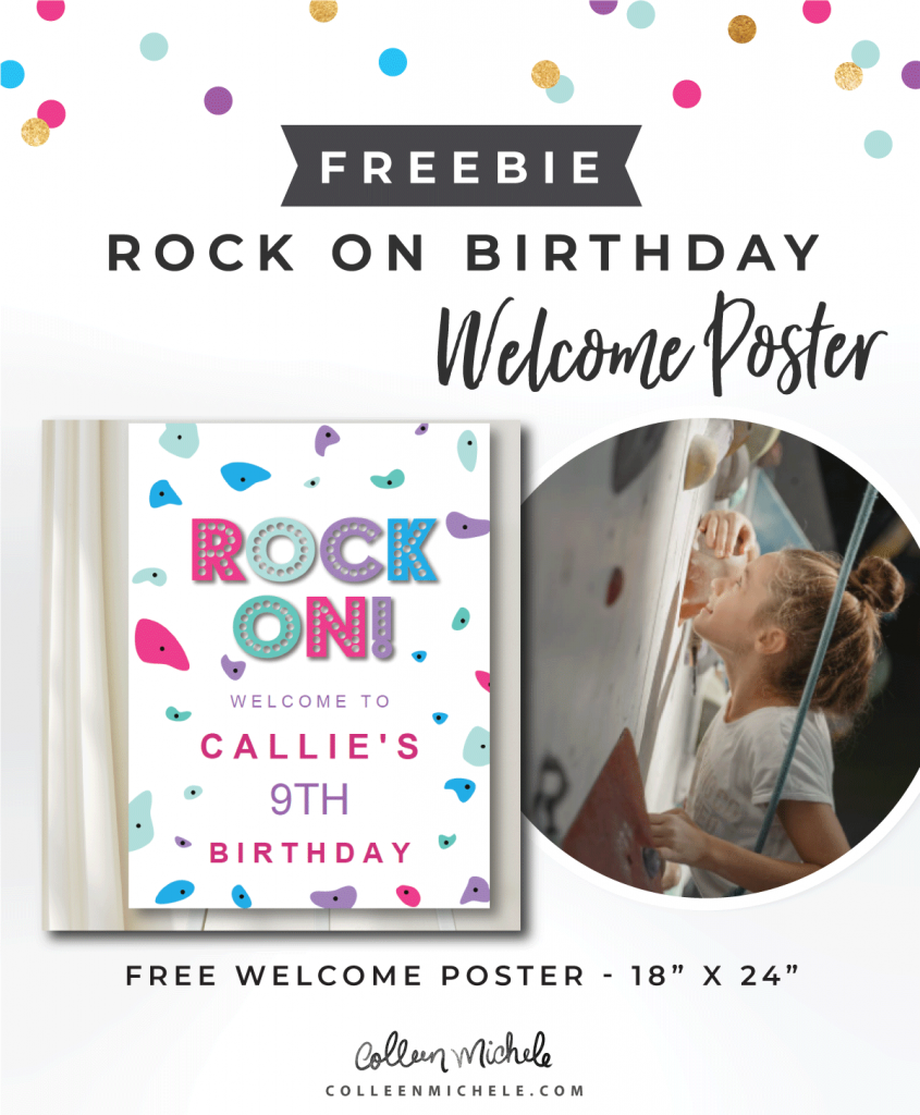 free rock climbing poster for birthday party