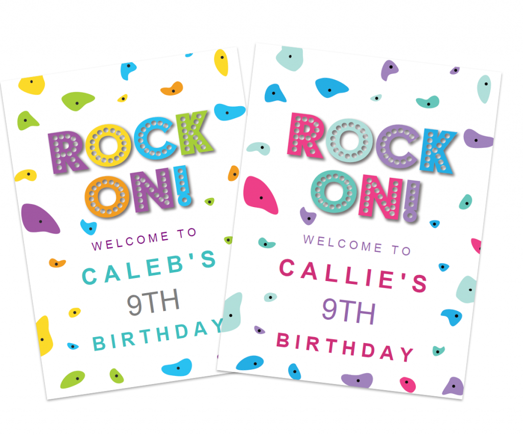 free boy or girl rock climbing birthday party poster
