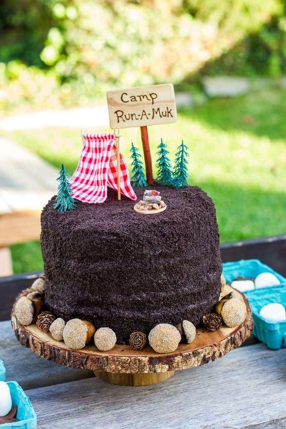 camp theme birthday cake
