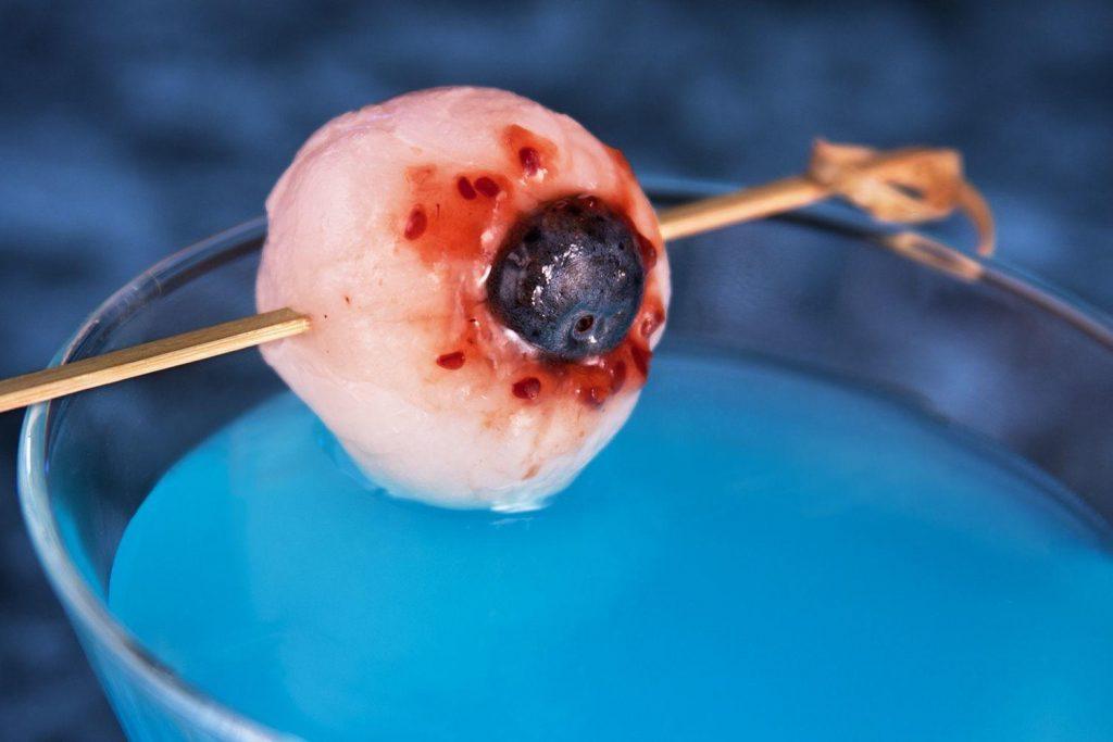 lychee eyeball garnish for Halloween