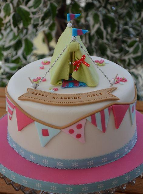 glamping birthday cake