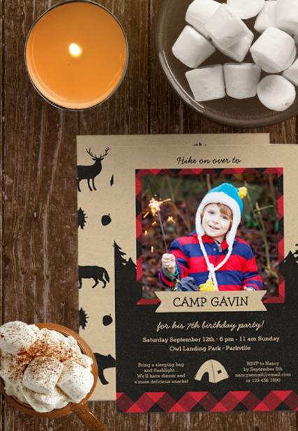 photo camping birthday party invitation