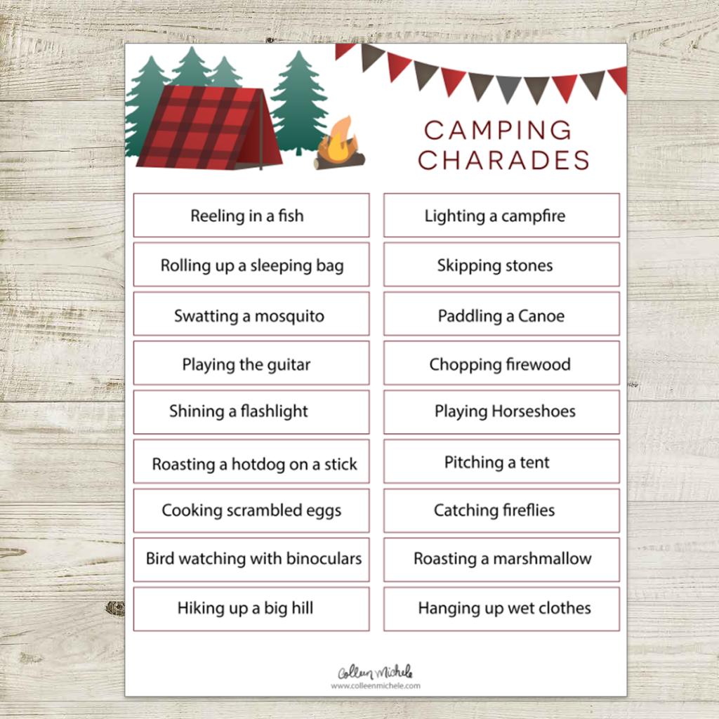free camping charade printable